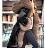 Faux crystal fox fur collar fur collar hooded jacket