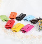 Color button leather key case