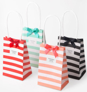 Small candy color striped white kraft paper bag