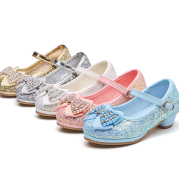 Children's bow high heel crystal shoes