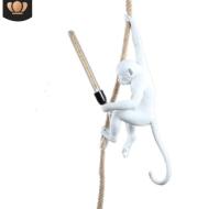 Resin Black White Gold Monkey Lamp Pendant Light For Living Room Lamps Art Parlor Study Room Led Lights lustre With