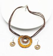 Wax line paint geometric short necklace earrings set