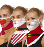 Christmas digital printing dustproof triangle scarf
