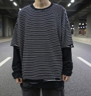 Fake two-piece striped loose base long sleeve