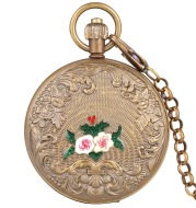 Carved small flower pocket watch