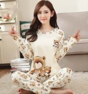 Long sleeve pajamas for women in autumn and winter can be