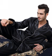 Men's silk satin pajamas suit casual wear