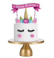 Unicorn birthday cake card plug-in happy birthday