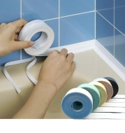 Home Bathroom Shower Sink Bath Sealing Strip Tape White PVC Self adhesive Waterproof Wall Sticker