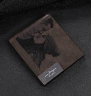 Custom photo carved frosted men's short wallet