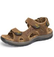 Summer men's sandals top layer cowhide beach shoes
