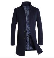 Men's mid-length casual stand-collar woolen coat