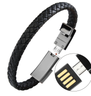 Outdoor Portable Leather Mini USB Bracelet Charger Data Charging Cable