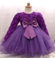 Long-sleeved girls dress rose children's wedding dress skirt
