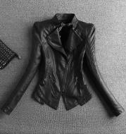 Skinny stand collar leather jacket