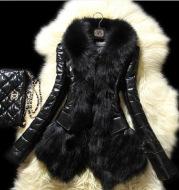 Faux fur large fur collar leather jacket