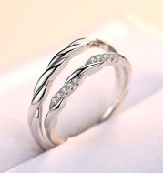 S925 sterling silver water ripple micro inlaid couple ring