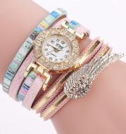 Angel Wing PU Belt Ladies Circle Bracelet Quartz Watch