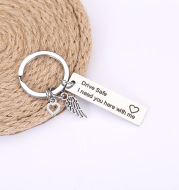 New couple keychain stainless steel jewelry laser lettering