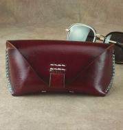 Craftsmanship handmade retro sunglasses case first layer cowhide glasses belt bag