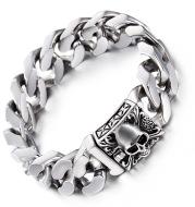 European and American men's stainless steel skull bracelet