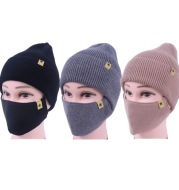 Two - piece knitted hat mask set