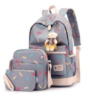Artistic canvas female four-piece school bag