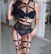 Gothic women's crop top stockings bra bondage cluster harness leg prom dress