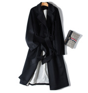Cashmere water ripple raglan sleeve commuting coat