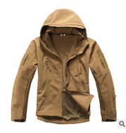 TAD shark skin soft shell jacket camouflage hooded fleece waterproof