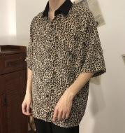 Leopard shirt men's five-point sleeve chiffon shirt