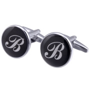 French Cufflinks black round Enamel Traditional letter Cufflinks