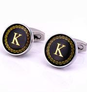 Round letter French cufflinks 26 letter cuffs
