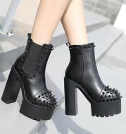 Ladies black platform rivet thick heel boots