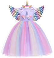 Unicorn lotus leaf sleeve rainbow dress