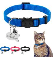 Personalized Safety Breakaway Nylon Quick Release Cat Collar ID Tag Set