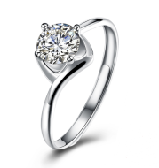 White Round Ring Fashion 925 Sterling Silver Jewelry
