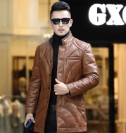 Haining men's leather down jacket