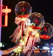 LED Luminous Balloon Rose Bouquet Transparent Bobo Ball Rose