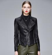 Slim-fit trendy PU ladies jacket leather jacket