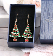 Fashion Jewelry Earrings Christmas Tree Shaped Ear Stud Party Banquet Gift