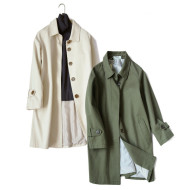 Two-color single-breasted coat