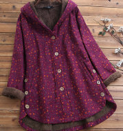 European And American Women's Hooded Floral Cacket
