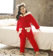 Children coral fleece pajamas women