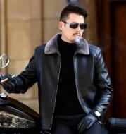 Middle aged sheepskin jacket