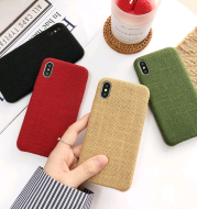 Simple mobile phone case solid color 8p, iphonex soft cloth pattern iphone7plus female couple new 6 personality creative mobile phone shell