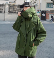 Stand-up army cloth WWII hooded jacket