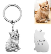 Private Custom Pet Character Photo Necklace Keychain
