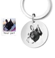 Custom Engrave Pet Name Photo Keychain