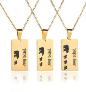 Bear Pendant Stainless Steel Oil Drop Necklace Daddy Necklace